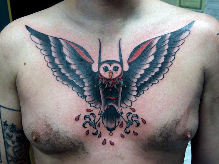 Blood Stomach Owl Old School tattoo by Three Kings Tattoo