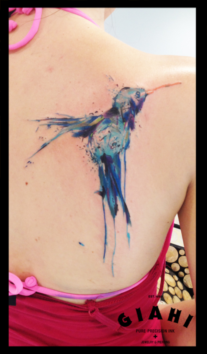 Blue Colibri tattoo on Blade by Live Two