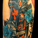 Blue Flowers Sewing Machine tattoo by Jack Gallowtree