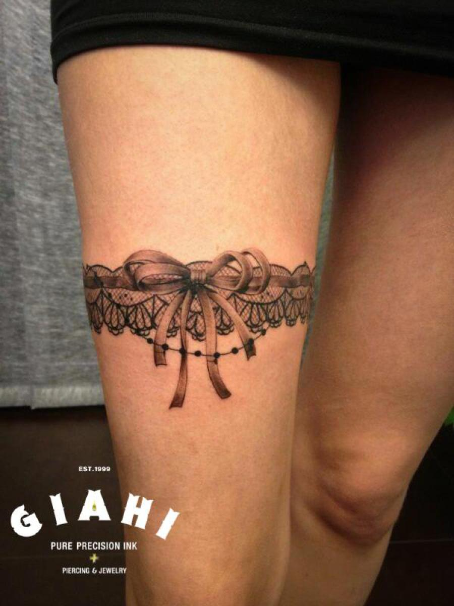 Bow Tie Garter 3D tattoo by Roony