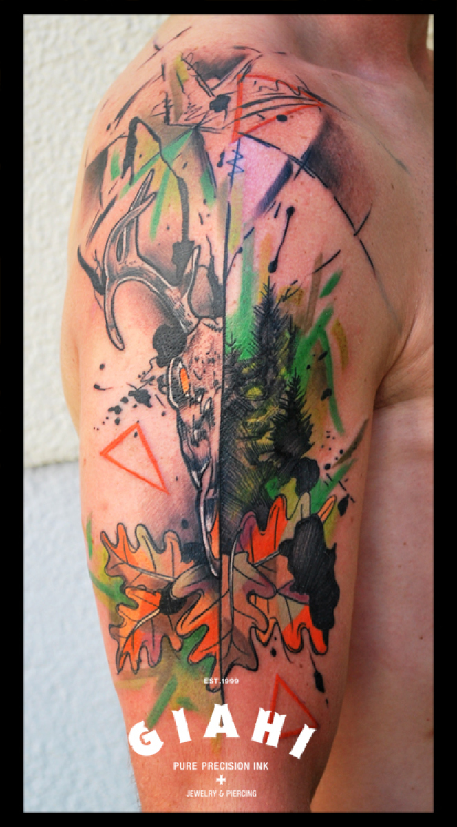 Buck Antlers Skull and Oak tattoo by Live Two