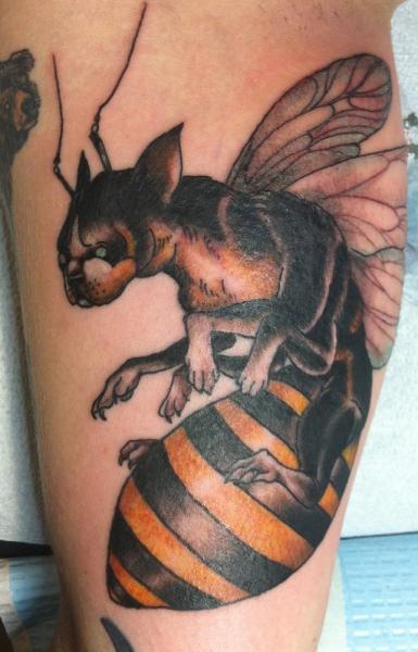 Bulldog Bee Abstract tattoo by Three Kings Tattoo