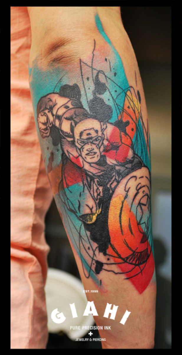Captain America tattoo by Live Two