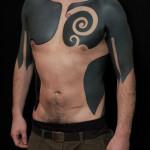 Chest Shoulder and Body Side Blackwork tattoos