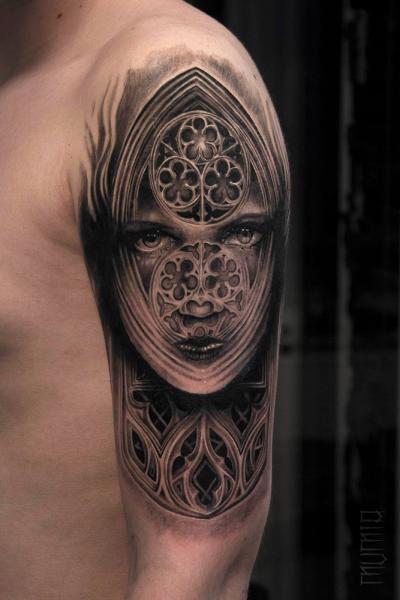 Church Window Face Graphic tattoo by Mumia Tattoo