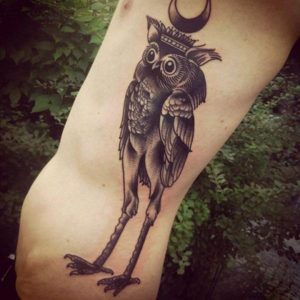 Crane Legs Moon King Owl Gpraphic tattoo by Sarah B Bolen