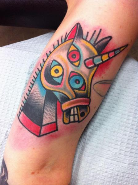 Crazy Three Eyes Horse New School tattoo by Destroy Troy Tattoos