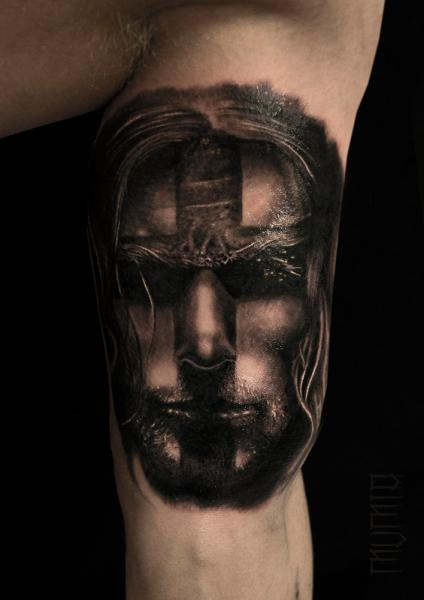 Cross Face Man graphic tattoo by Mumia Tattoo