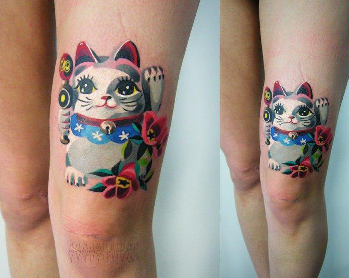 Cute Maneki Neko tattoo by Sasha Unisex