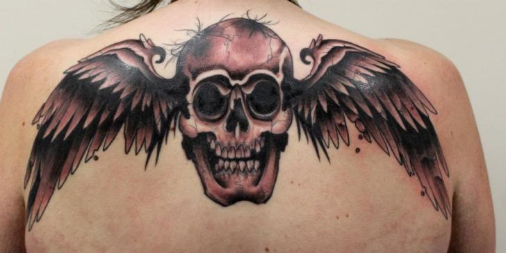 Dark Wings Scull tattoo by Tantrix Body Art