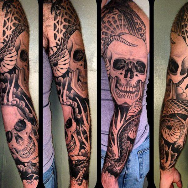 Dotwork Snake and Scull tattoo by Three Kings Tattoo
