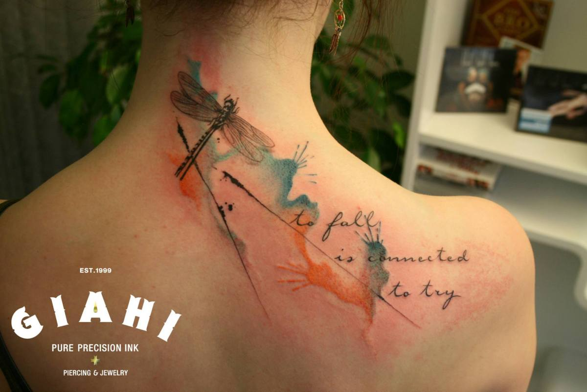 Dragonfly To Fall Is Connected To Try Aquarelle tattoo by Roony