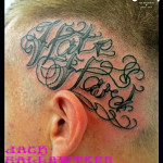 Ear Font Lettering tattoo by Jack Gallowtree