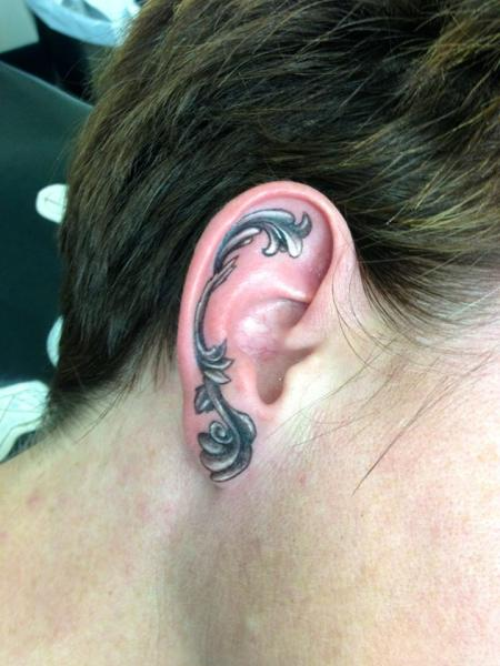 Ear Graphic Baroque tattoo by Tantrix Body Art