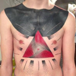 Endless Triangle and Black Collar Blackwork tattoo