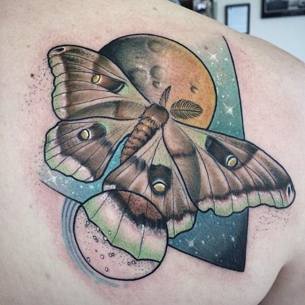 Enlarged Wing Butterfly Dotwork tattoo by Earth Gasper Tattoo