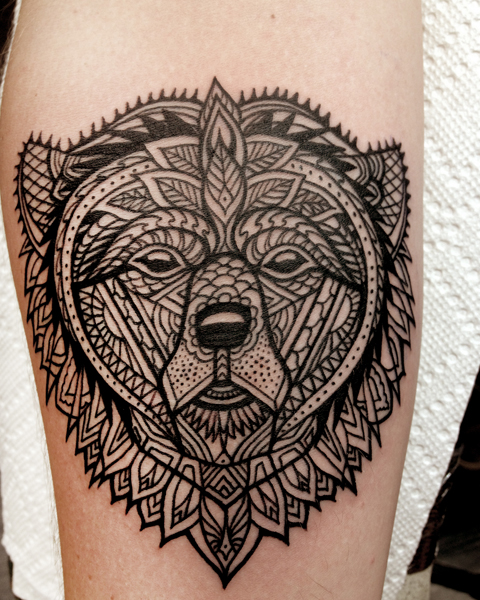 Ethnic Bear Blackwork tattoo by Three Kings Tattoo