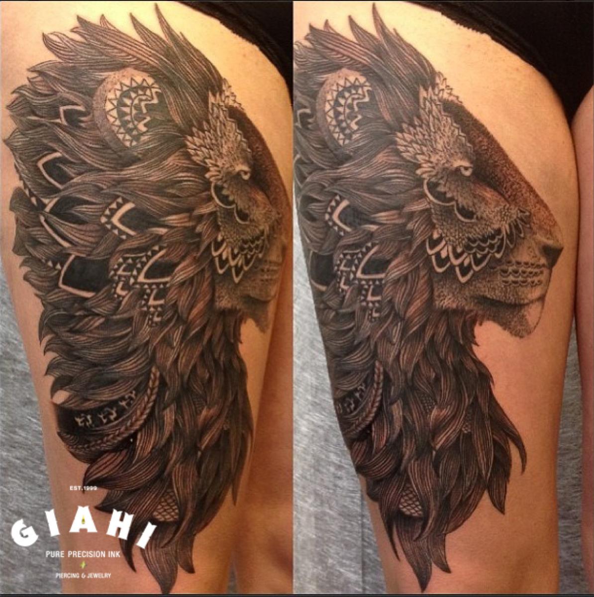 Ethnic Mane Liwon Blackwork tattoo by Roony