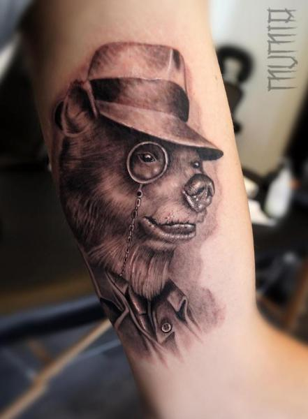 Eyeglasses Bear in Hat Graphic tattoo by Mumia Tattoo