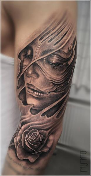 Face and Rose Under Skin 3D Graphic tattoo by Mumia Tattoo