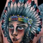 Fat Cheeks  Indian Girl Old School tattoo by Nick Baldwin