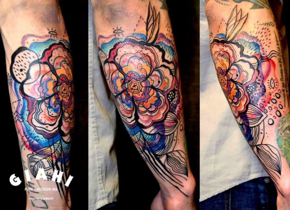 Five Petals Flower tattoo by Petra Hlavàckovà