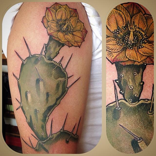 Flower Cactus tattoo by Wonderland Tattoos