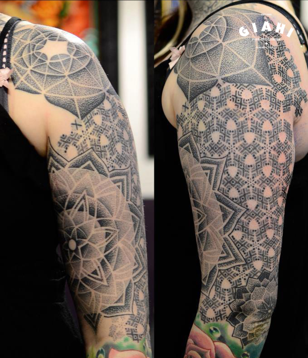 Flowers Dotwork tattoo sleeve by Andy Cryztalz