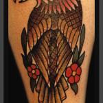 Flowers Hawk Old School tattoo by Jack Gallowtree