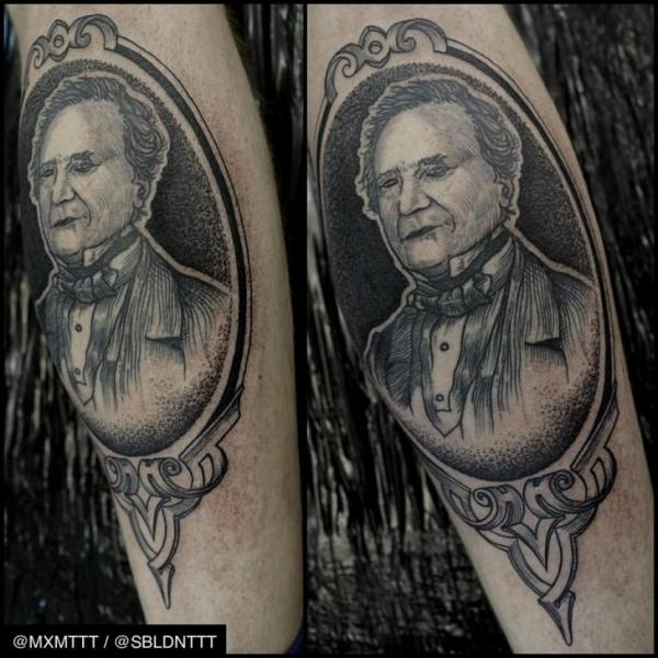 Frame Portrait Dotwork tattoo by MXM
