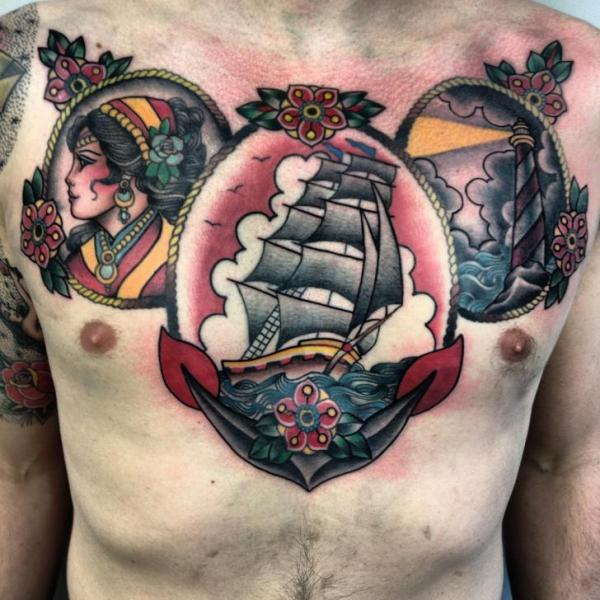 Framed Girl Ship and Lighthouse Nautical tattoo by Three Kings Tattoo on chest