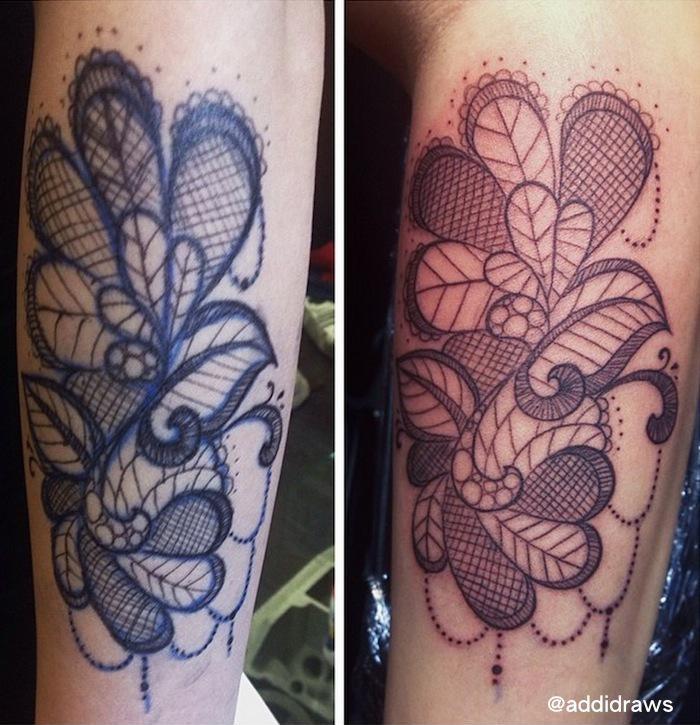 Freehand Lace tattoo by Liisa Addi Kask