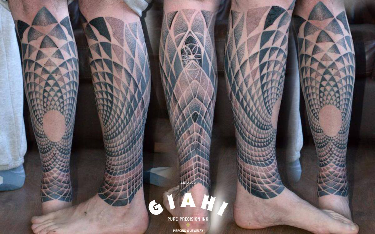From Circle Centre Leg Dotwork tattoo by Andy Cryztalz