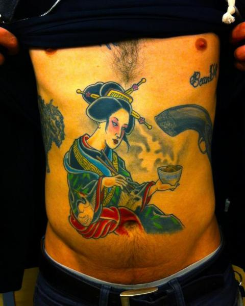 Geisha Hot Tea Japanese tattoo by Three Kings Tattoo