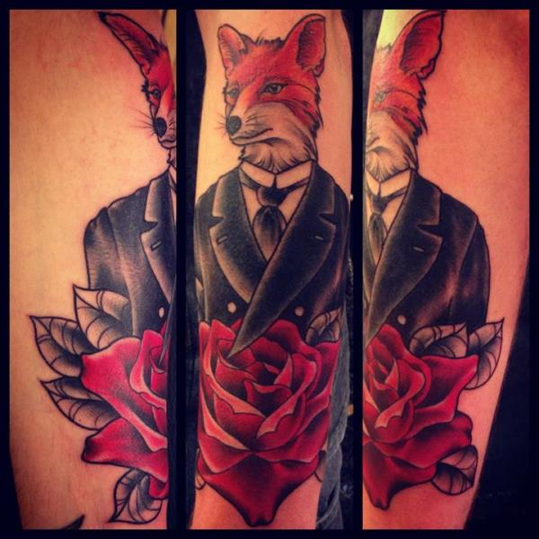 Gentleman Fox tattoo by Sarah B Bolen