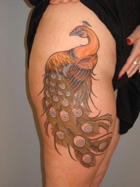 Golden Peacock Thigh tattoo Three Kings Tattoo