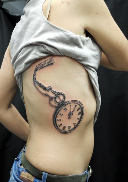 Graphic Clock 3D tattoo by Nazo
