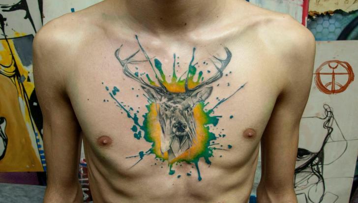 Green Paint Spot Realistic Buck Aquarelle tattoo by Galata Tattoo on Chest