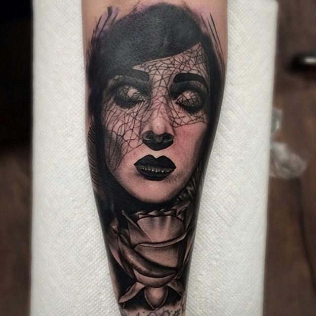 Mourning Veil Girl tattoo by Seth Holmes