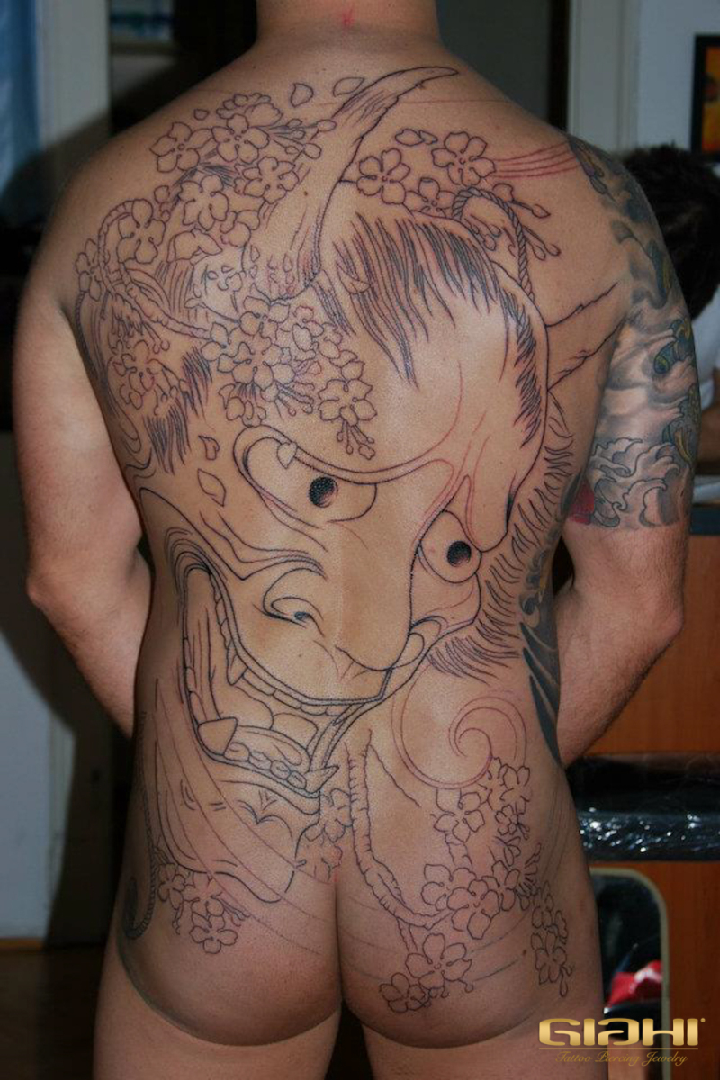 Hannya Mask Japanese tattoo in Progress by Szilard