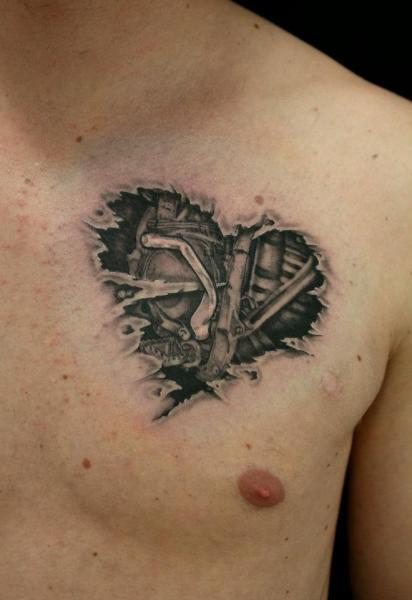 Heart Engine Biomechanical tattoo by Skin Deep Art