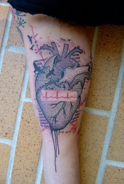 Heartbeat Dotwork tattoo by Xoïl