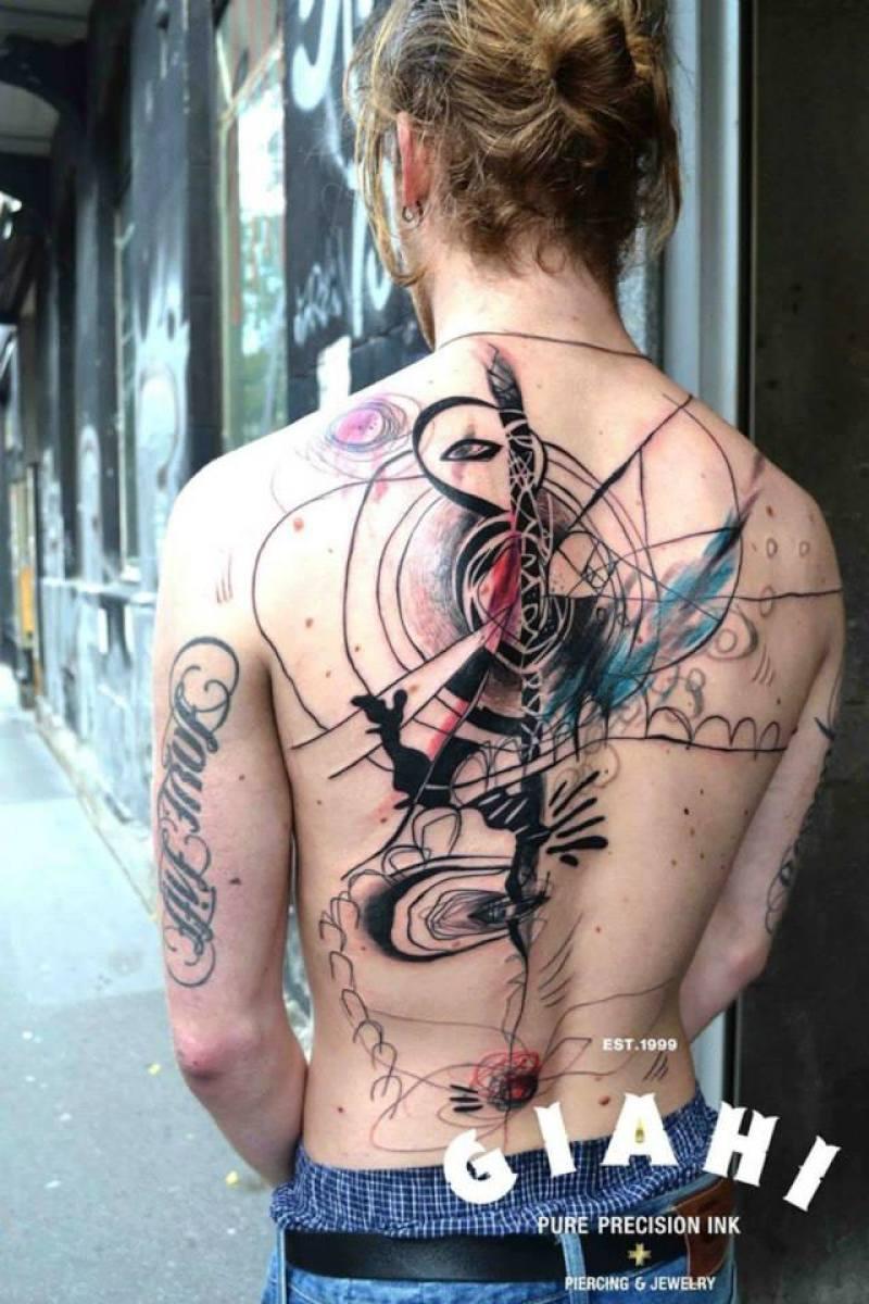 Hiding Man Abstract Aquarelle tattoo by Petra Hlavàckovà