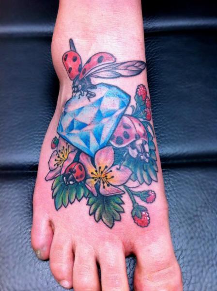Ladybug Dimond tattoo by Skin Deep Art