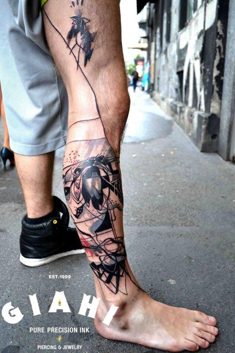 Leg Abstraction Aquarelle tattoo by Petra Hlavàckovà