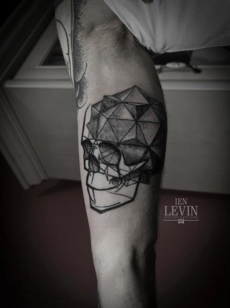 Lines and Pyramid Scull tattoo by Ien Levin