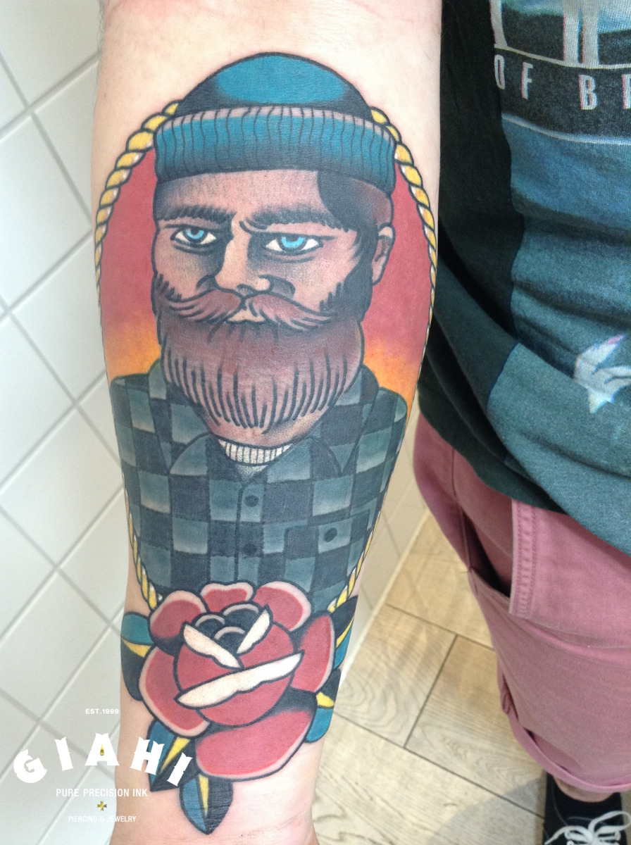 Lumber Beard tattoo by Elda Bernardes