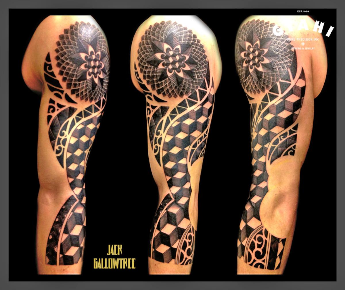 Mandala Cubes Blackwork tattoo by Jack Gallowtree