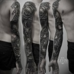Many Dark Skulls and Roses Dotwork tattoo sleeve by Ien Levin