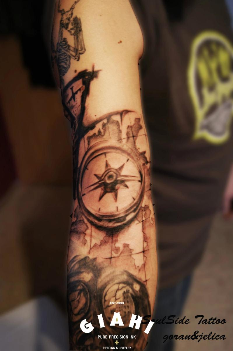 Map Compass Graphic tattoo by Goran Petrovic